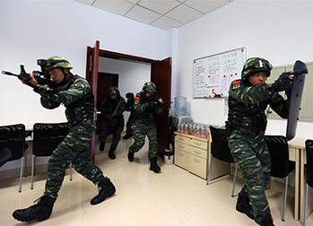 山東煙臺:武警開展跨區反恐綜合演練