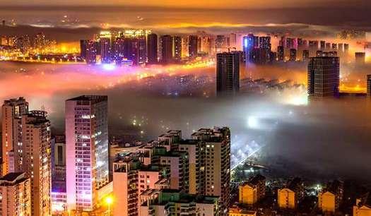 青島西海岸新區夜景唯美宛若海市蜃樓