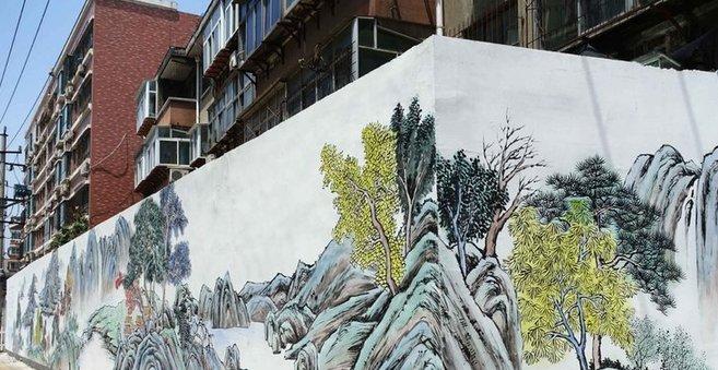"""外墙绘满国画书法 济南这条街""""古典范"""""""