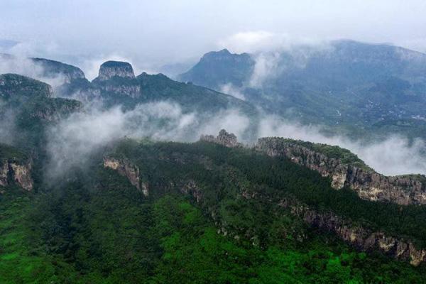 秀美!濟南南部山區雨後現平流霧