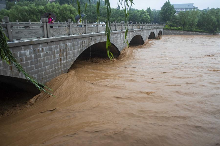 山东潍坊青州市南阳河河水汹涌