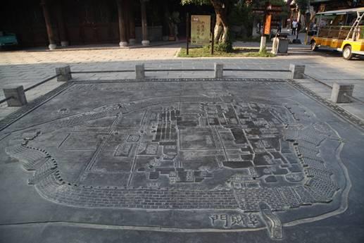 青州古城地形图石雕