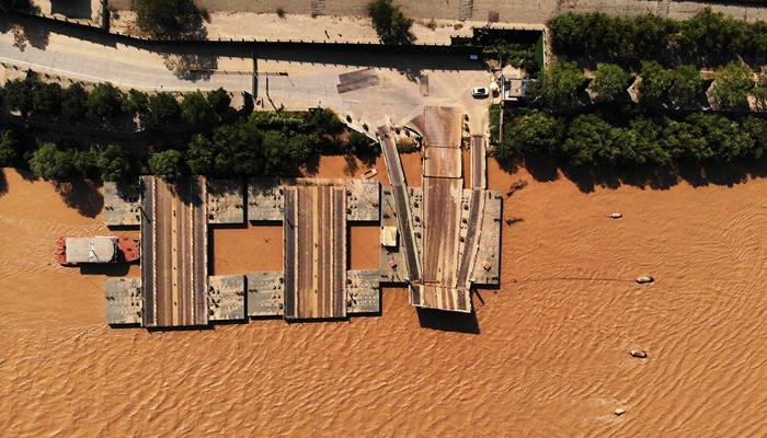黃河2019年第3號洪水逼近 濟南暫時拆除濼口浮橋