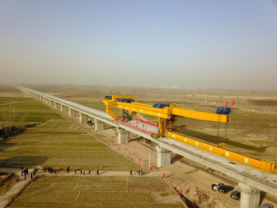 魯南高鐵山東段全線完成箱梁架設