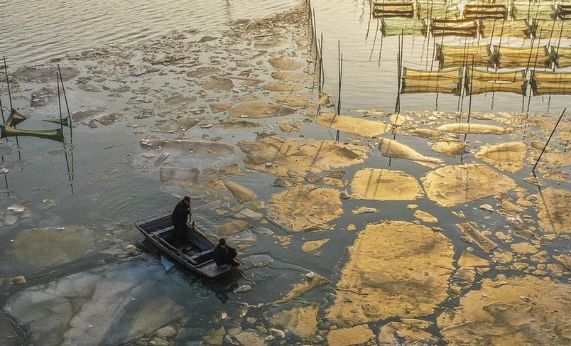 山東濟寧:京杭運河夕陽美不勝收